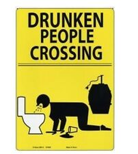 Adult Only Prank Business Tin Sign Drunk People Crossing Metal Sign
