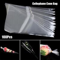 100 X  sac de cône cellophane Fête  douce fleur d' bonbons mariée emballage