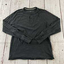 Rag & Bone Long Sleeve Button Front Henley Shirt Men's L Solid Gray