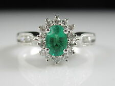 14K Emerald Diamond Halo Ring White Gold Cathedral Mil Grain Fine Jewelry sz 6.7