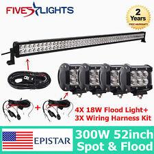 52INCH 300W LED WORK LIGHTS BAR SPOT FLOOD DRIVING OFFROAD BAR 4WD+4X 18W+3X KIT