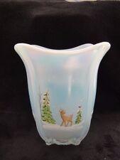 """Christmas Carnival Fenton """"Whispering Woods"""" Flip Reindeer Winter Snow Deer Vase"""