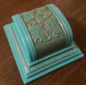 Antique Vintage Art Deco Teal Engagement Plastic Celluloid Presentation Ring Box