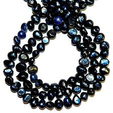 """NP492L2 Dark Royal Blue 5mm - 6mm Baroque Cultured Freshwater Pearl Beads 14"""""""