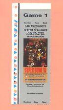 Seattle Seahawks @ Dallas Cowboys 1998 ticket stub Super Bowl VI tickets photo A