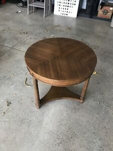 Vintage 1960 Mid Century Modern Drexel Triune End Table Beautiful Round Wood 22""