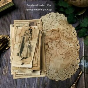 41pcs Handmade Coffee Dyed Lace Material Label Bill Postmark Page Crafts Paper