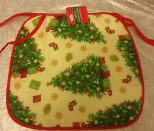 """SET OF 4 KITCHEN CHAIR PADS CUSHIONS w/strings, CHRISTMAS TREES, 13.75"""" x 15"""""""