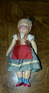 """Antique Japan Celluloid Hinged Village Girl Doll Marked"""" Japan"""" on Legs 4""""T"""