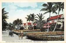 PALM BEACH FLORIDA~WINTER HOMES ALONG LAKE SHORE TRAIL~VAN NOY PUBL POSTCARD