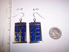 """Sterling Silver hooks posts earrings Dr Who TARDIS police box 2 1/2"""""""