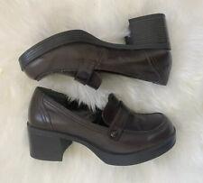 Vintage Mudd Womens Brown Chunky Heel Shoes Platform Loafers 90s Y2K 2000s Sz 9