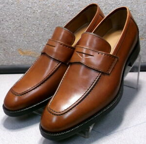 152674 MS50 Men Shoes Size 10.5 Dark Tan Leather Slip On Loafer Johnston Murphy