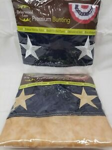 """Patriotic Bunting USA 36"""" x 18"""" Briarwood Lane - Plain or Tea Stained- NEW"""