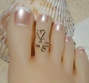 Toe Ring Gold Floating Heart