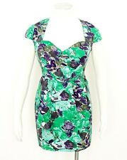 River Island Green Purple Floral Mini Dress Cap Sleeve Sweetheart Neckline Sz 14