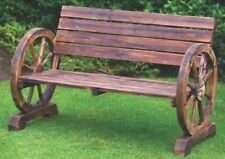 Stunning Brunt Wood Wagon Wheel Garden Bench 2 Seater Outdoor Patio Furniture