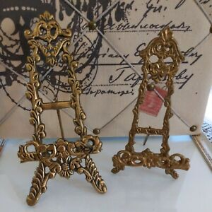 2 Vintage Ornate Brass Easel Display Stands Picture Art Book Folding Table Top