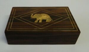 Wooden trinket box with brass inlaid elephant - hinged lid