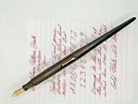 'Presco' Desk Pen in Wood Grain and Blkack Hard Rubber. Fountain Pen - Working