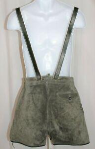"Vintage Suede Leather Green Lederhosen Detachable Suspenders 29"" Waist"