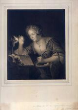 Mädchen-Eier-Öllampe-Eierfrau - große Lithographie-Schalken-Hanfstaengl 1835-52