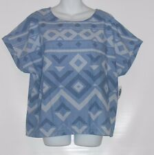 Old Navy Ladies 100% Cotton Cap Sleeve Top Blouse Chambray XL NWT