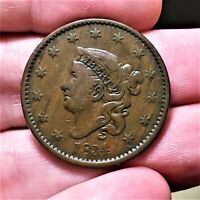 1834 U.S. CORONET HEAD Very Nice Large Cent Copper Coin!