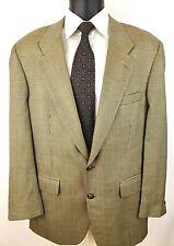 VTG BURBERRY 40 R Beige Glen Plaid 100% Wool 2 Button Sport Coat Blazer Jacket