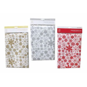 Festive Christmas Table Covering Snowflake Party Spread Tablecloth Easy Wipe