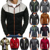 Mens Winter Hoodies Hooded Sweatshirts Zip Up Tops Jumper Outwear Jacket Coat