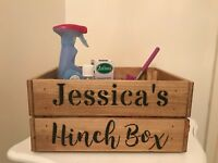 Personalised Vintage Rustic Style Mrs Hinch Wooden Crate Box Cleaning Caddy
