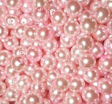 50 x 8mm Baby Pink Glass Pearl Beads Jewellery Making Crafts