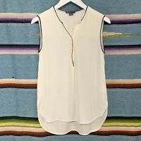 Vince Silk Blouse Size Small S Ivory Black Trim Sleeveless Popover High Low Top
