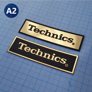 2 x Technics - METALLIC Case Logo Sticker Badge - 70mm / 20mm