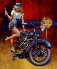 Vintage Harley Davidson pinup girl, Flat Flexible Refrigerator Magnet