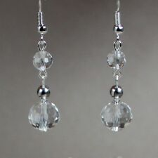 Clear grey crystals long drop dangle earrings wedding bridesmaid bridal gift