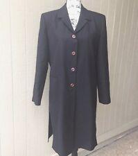 HARVE BENARD Womens  Trench Coat Jacket Lined  Work Navy Blue 100% Wool Sz 10