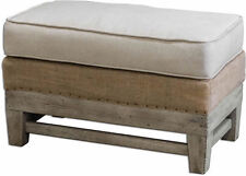 Schafer Ivory Linen/Burlap and Mahogany Wood Ottoman by Uttermost 23616