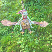 PIXIE RIDING FLYING ON OWL ROPE HANGING GARDEN ORNAMENT GOBLIN NEW & BOXED