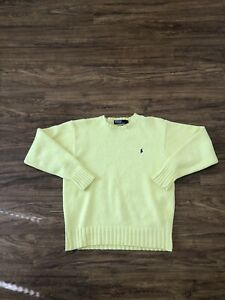 Mens Vintage Ralph Lauren Polo Sweater Pale Yellow 100% Cotton Medium