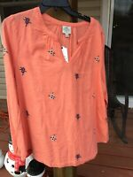 💕NWT Women's ST JOHNS BAY Long Sleeve Top Shirt Size L NWT Floral Coral