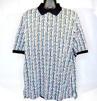 Tabasco Men's Polo Shirt Size XL All Over Print Blue Black Gray 100% Cotton