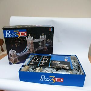 MB Puzzle 3D Tower Bridge 819 Pieces Jigsaw Puzzle-Complete New NRFB