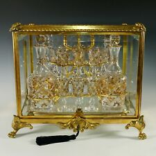 Antique French Gilt Bronze Tantalus Cabinet Caddy Box, Cut Crystal Liquor Set