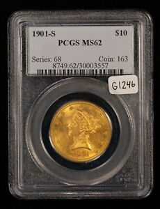 1901-S G$10 Liberty Head Gold Eagle - Luster - PCGS MS 62 - SKU-G1246