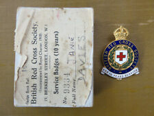 OLD BRITISH RED CROSS 10 YEARS ENAMEL BADGE NAMED AND BOX