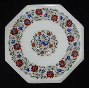 """14"""" Marquetry Marble Coffee Center Table Top Peacock Inlay Floral Arts Furniture"""