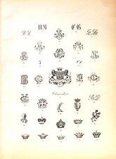 Stampa antica argenteria MARCHI CORONE Boulenger 1890 Old print silverware