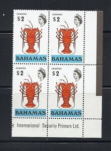 BAHAMAS 1976 Scott 329b ( CRAWFISH) WMK 373 sideways VF MNH block/4